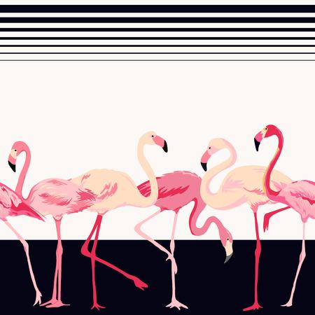 フラミンゴ鳥背景 - レトロなシームレス パターン - ベクトル