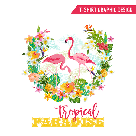 Tropical Graphic Design - Flamingo en tropische bloemen - voor t-shirt, mode, prints - in vector