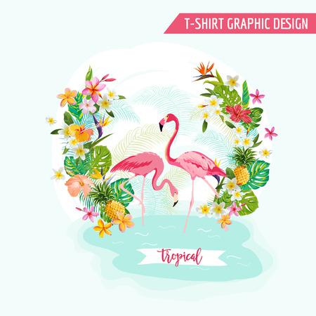 열대 그래픽 디자인 - 플라밍고와 열 대 꽃 - 티셔츠, 패션, 인쇄에 - 벡터