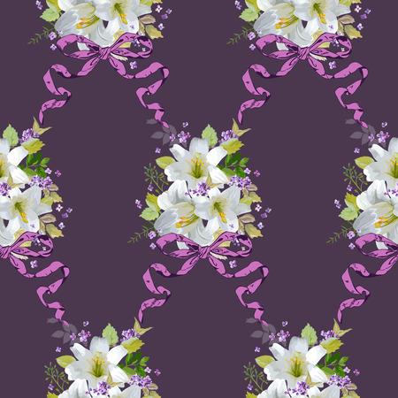 flor de lis: Fondos de primavera Lily Flores - sin patrón floral elegante lamentable - en el vector Vectores