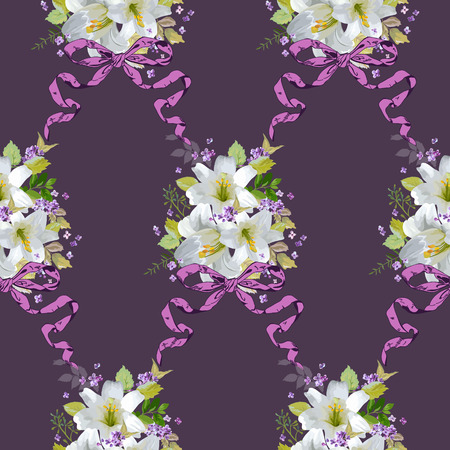 lily flowers set: Spring Lily Flowers Backgrounds - Seamless Floral Shabby Chic Pattern - in vector