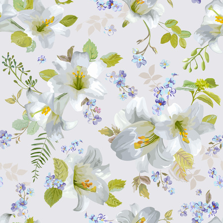 lily flowers: Spring Lily Flowers Backgrounds - Seamless Floral Shabby Chic Pattern - in vector