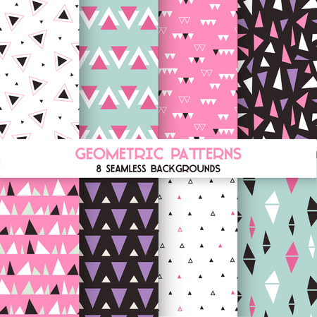 seamless patterns: 8 Seamless Geometric Triangles Patterns - Texture for wallpaper, background, textile, scrapbook - in vector Illustration