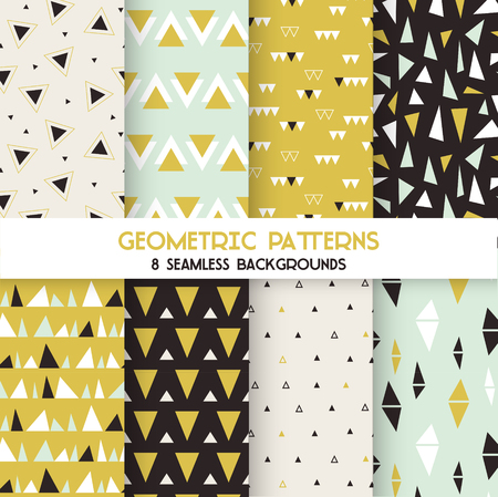patterns vector: 8 Seamless Geometric Triangles Patterns - Texture for wallpaper, background, textile, scrapbook - in vector Illustration