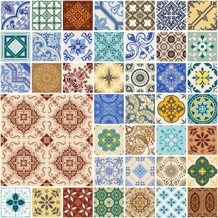 ceramic tiles: Colorful Seamless Patchwork Pattern - Spain and Moroccan Tiles Set - for wallpaper, design, background, texture, interiours - in vector Illustration