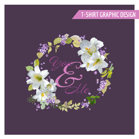 lily flowers set: Floral Lily Shabby Chic Graphic Design - for t-shirt, fashion, prints - in vector Illustration