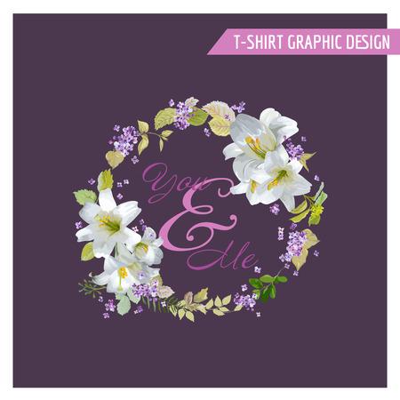 Kwiatowy Lily Shabby Chic Graphic Design - dla koszulki, moda, odbitek - w wektorze