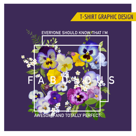 for design: Floral Graphic Design - for t-shirt, fashion, prints - in vector