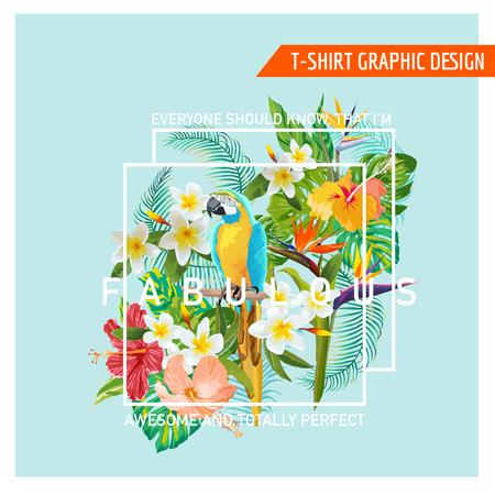 꽃 그래픽 디자인 - 열대 꽃과 새 - 티셔츠, 패션, 인쇄에 - 벡터 일러스트