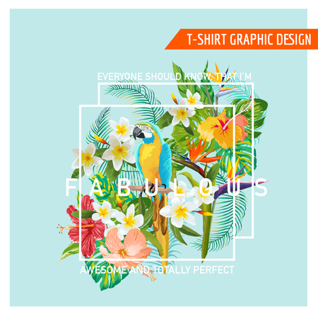 Floral Graphic Design - Tropical Flowers and Bird - for t-shirt, fashion, prints - in vector