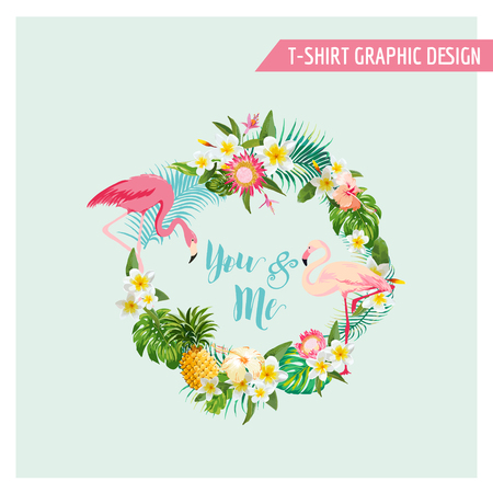 Tropical Flowers and Flamingo Wreath - for Wedding, Birthday, Baby Shower, Party, t-shirt graphic - in vector Çizim