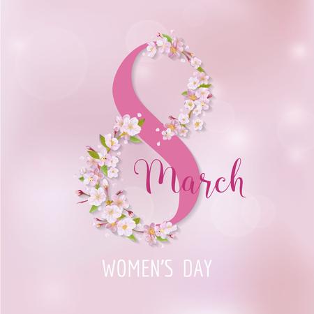 8 de marzo - Plantilla de la tarjeta de felicitación del día de la mujer - en el vector