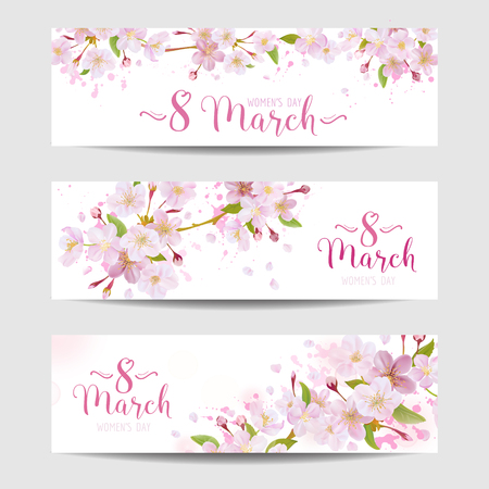 8 March - Women's Day Greeting Card Template - Spring Banner - in vector  イラスト・ベクター素材