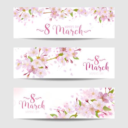 8 mars - Modèle de carte de voeux de la fête des femmes - Bannière de printemps - dans le vecteur Vecteurs