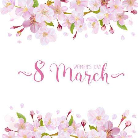 8 de marzo - Plantilla de la tarjeta de felicitación del día de la mujer - en el vector Ilustración de vector