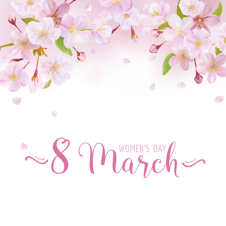 8 March - Womens Day Greeting Card Template - in vector