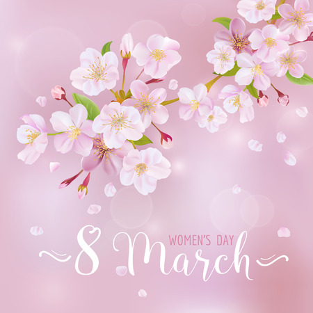 mar: 8 March - Womens Day Greeting Card Template - in vector