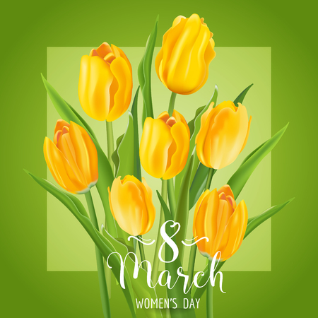 tulips in green grass: 8 March - Womens Day Greeting Card - with Yellow Tulips Flowers - in vector