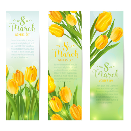 8 march: 8 March - Womens Day Greeting Banners - with Colorful Tulips - in vector