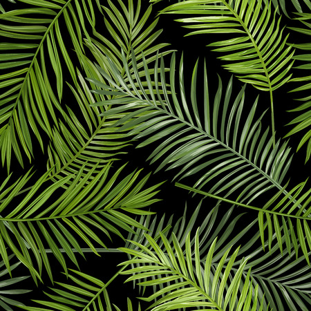 Seamless Tropical Palm Leaves Background - for design, scrapbook - in vector