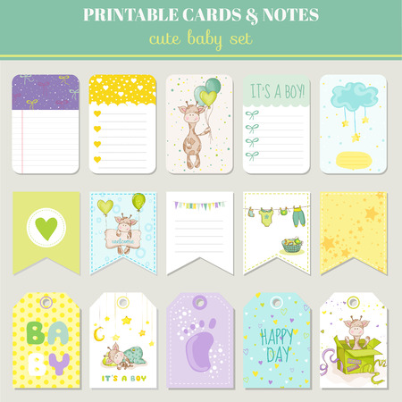 baby birth: Baby Boy Card Set - with Cute Giraffe - for birthday, baby shower, party, design - in vector Illustration