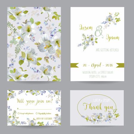 Ahorre la fecha - invitación o felicitación Tarjeta de Juego - Flor LilyTheme - en el vector