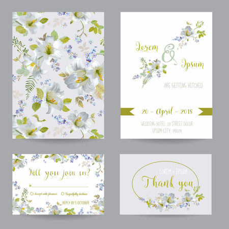 the spouse: Save the Date - Wedding Invitation or Congratulation Card Set - Flower LilyTheme - in vector