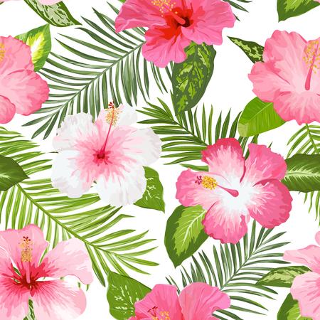 Tropische Blumen und Blätter Hintergrund - Jahrgang nahtlose Muster Standard-Bild - 53100936