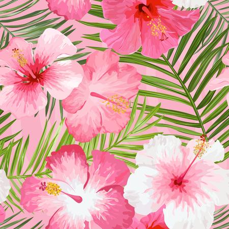 Las flores tropicales y hojas de fondo - sin patrón de la vendimia
