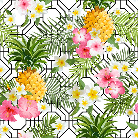tropical garden: Pinapples and Tropical Flowers Geometry Background -Vintage Seamless Pattern Illustration