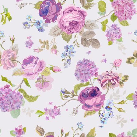 Spring Flowers Background - Seamless Floral Shabby Chic Pattern Çizim