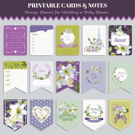 pansy: Vintage Pansy Flowers Card Set - for birthday, wedding, baby shower, party, design