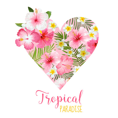 flower card: Floral Heart Graphic Design - Tropical Flowers Theme - for t-shirt, fashion, prints