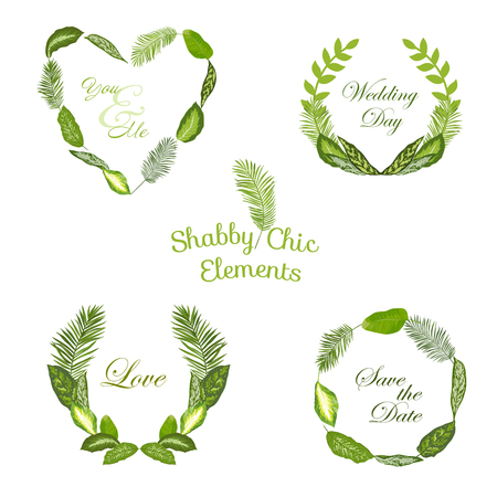girl happy: Tropical Leaves and Tags - for your design and scrapbook - in vector