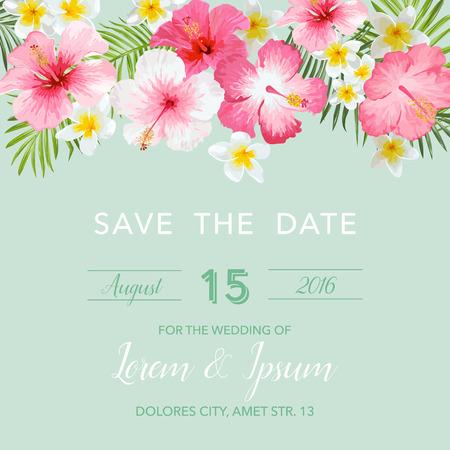 Uitnodiging van het Huwelijk - met Floral tropische achtergrond - Save the Date