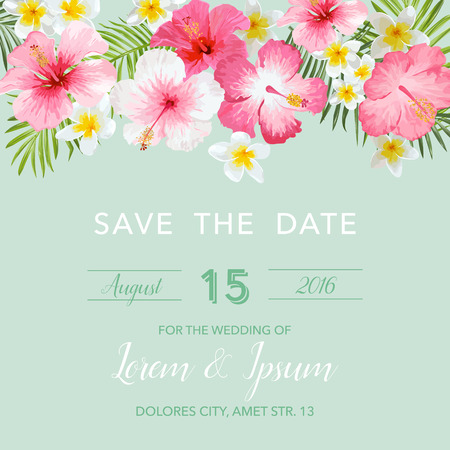 tropical: Wedding Invitation Card - with Floral Tropical Background - Save the Date