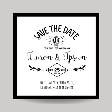 caligraphic: Wedding Invitation Card - Save the Date - Air Balloon Theme