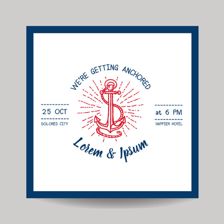 caligraphic: Wedding Invitation Card - Save the Date - Marine Anchor Theme Illustration