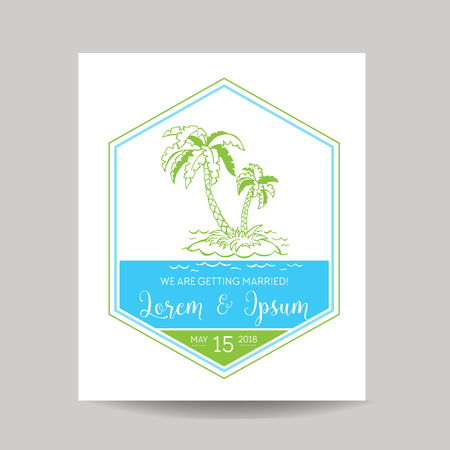 caligraphic: Wedding Invitation Card - Save the Date - Tropical Theme