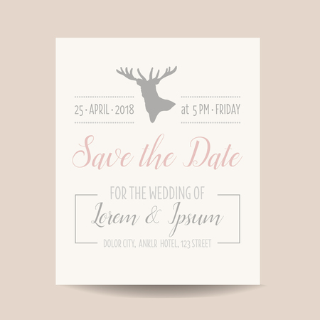 caligraphic: Wedding Invitation Card - Save the Date - Rustic Style