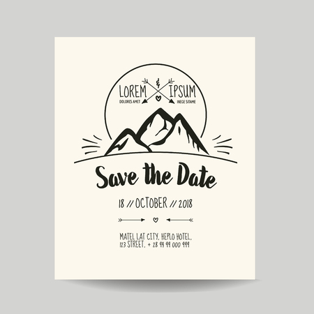 caligraphic: Wedding Invitation Card - Save the Date - with Mountain Illustration