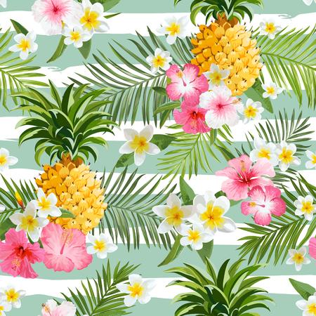 파인애플 및 열 대 꽃 형상 배경 - 빈티지 원활한 패턴 일러스트