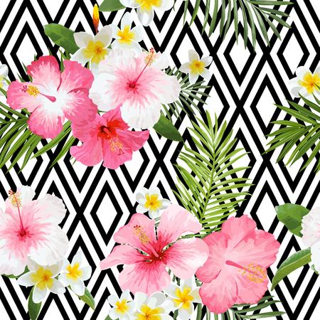 熱帯の花し、葉の幾何学的な背景 - ヴィンテージのシームレス パターン  イラスト・ベクター素材
