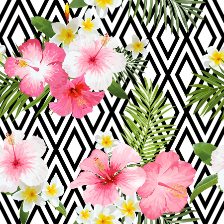 Tropical Flowers and Leaves Geometric Background - Vintage Seamless Pattern 일러스트
