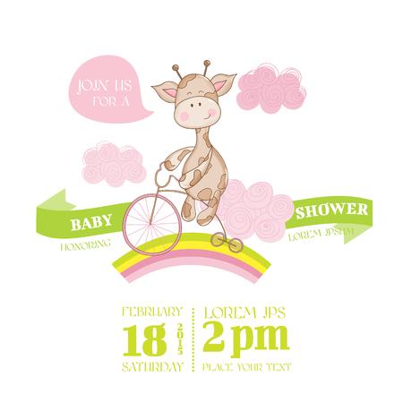 Ducha o tarjeta de llegada del bebé - con la jirafa del bebé