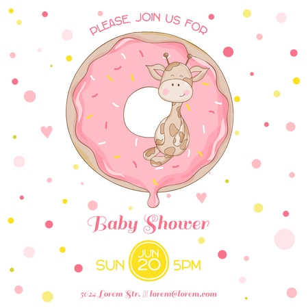 place for your text: Baby Giraffe Shower Card - with place for your text Illustration