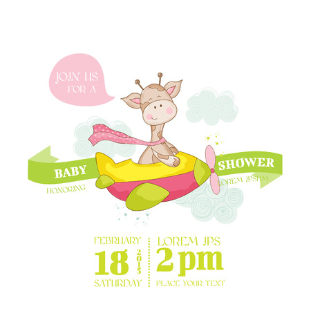 arrival: Baby Shower or Arrival Card - with Baby Giraffe Illustration