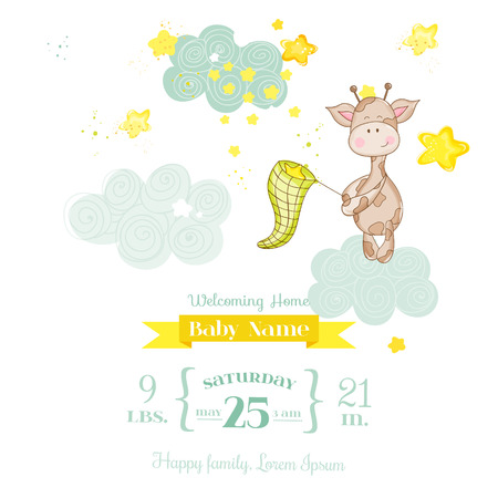 welcome baby: Baby Giraffe Shower Card - with place for your text Illustration