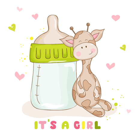 cute cards: Baby Shower or Baby Arrival Cards - Cute Baby Giraffe - Illustration