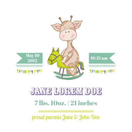 Tarjeta de bienvenida al bebé de la jirafa - con lugar para el texto